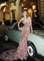 Sexy Blush Evening Dresses Long Flora Applique Elie Saab Couture Dress Open Back Formal Prom Party Gown Custom Made