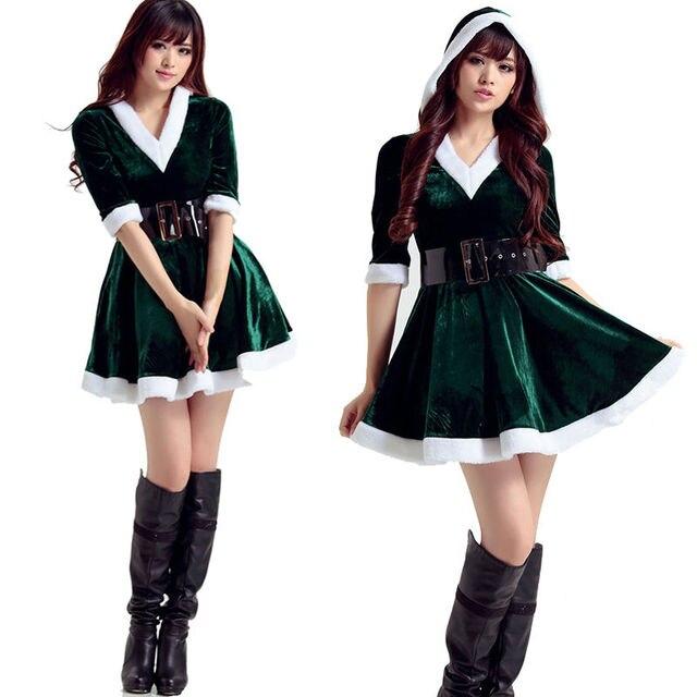 503b5483d5d 1 PC Women Santa Costume Adult Mrs Miss Claus Sexy Outfit Christmas Fancy  Dress Xmas Green on Aliexpress.com