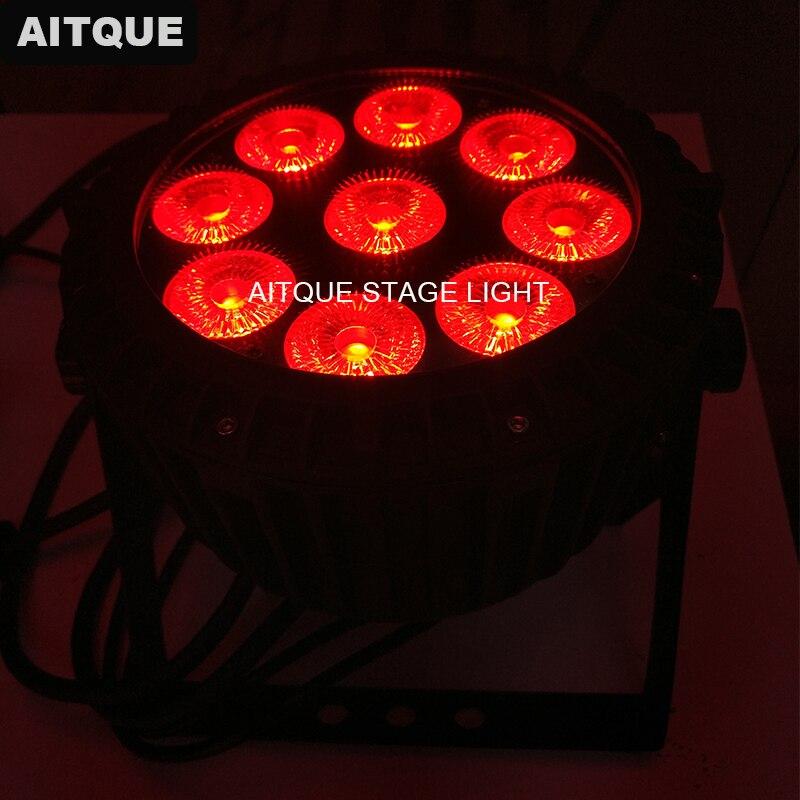 10 lote Dj equipamento de luz led spot light dmx lavagem quad 9x10 w rgbw led plana par ao ar livre mini par par fino ip65|Efeito de Iluminação de palco| |  -