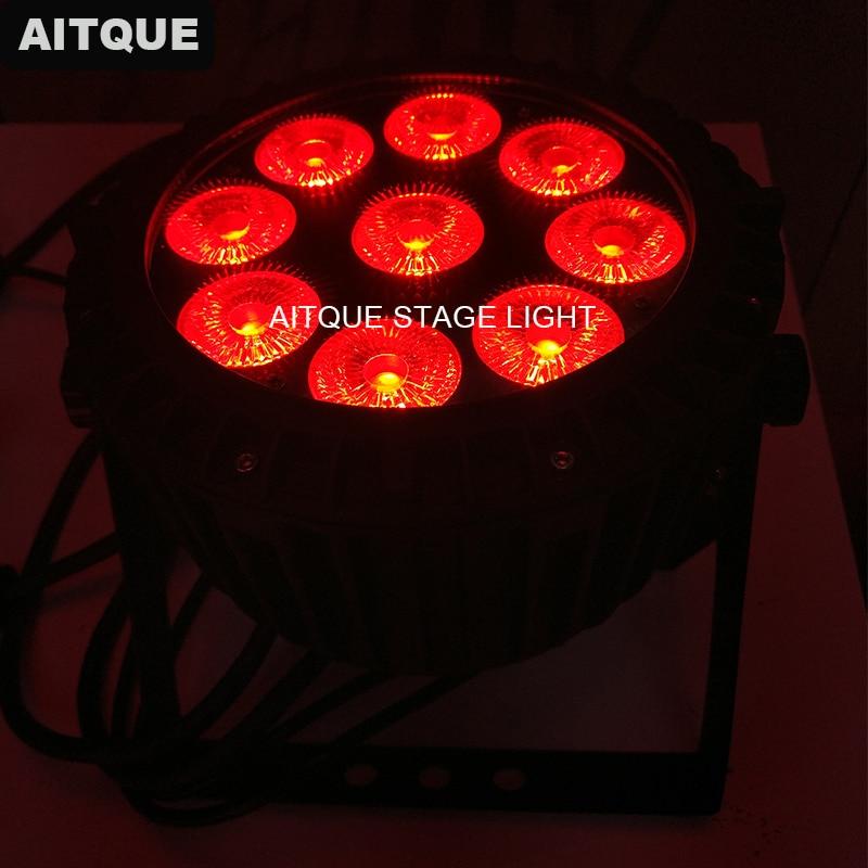 10lot Dj light equipment led spot light dmx quad wash 9x10w led par flat rgbw outdoor mini par slim par ip65