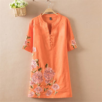 Chinese Style Vintage Plus Size Casual Cotton Linen Summer Dress Loose Women Clothing Embroidery Beading Dresses