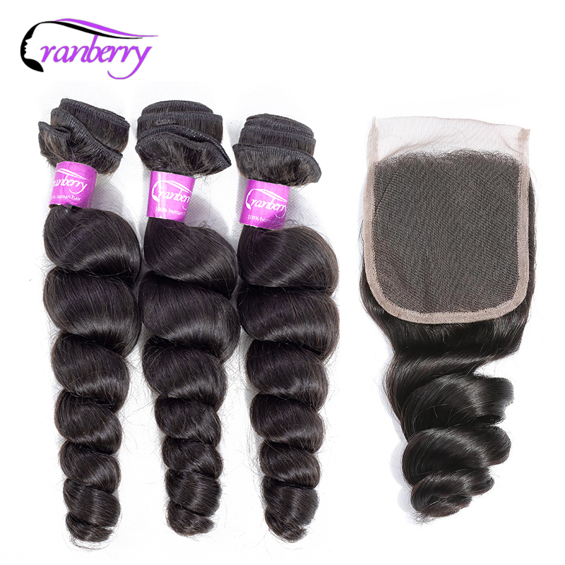CRANBERRY Hair Loose Wave Bundles With Closure 100 Remy Human Hair Weave Bundels Malaysian Human Hair