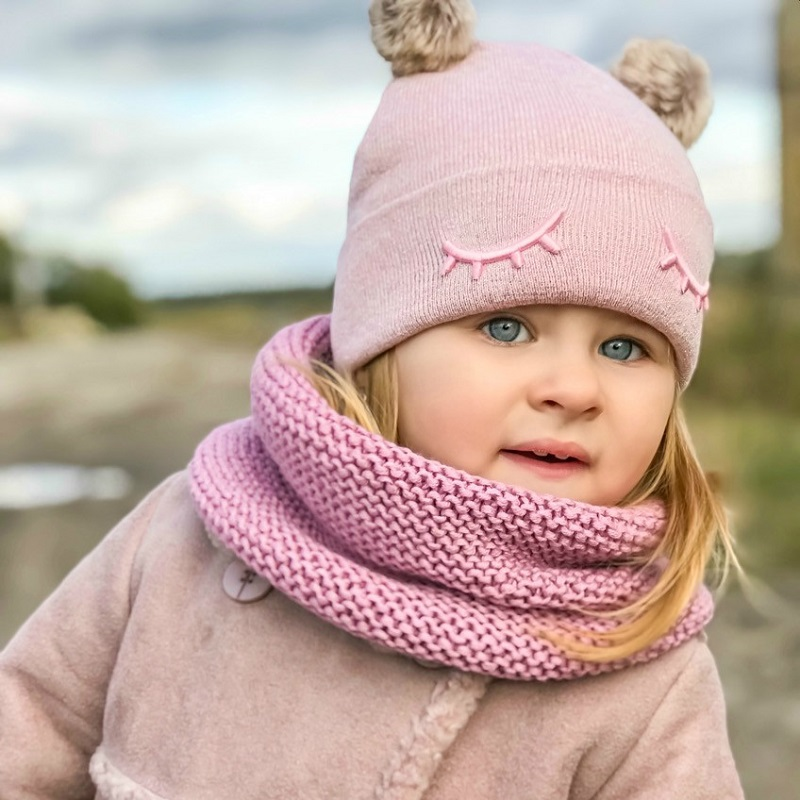 Baby Hut Auge Stickerei Doppel Pompom Hut Für Mädchen Häkeln Baby