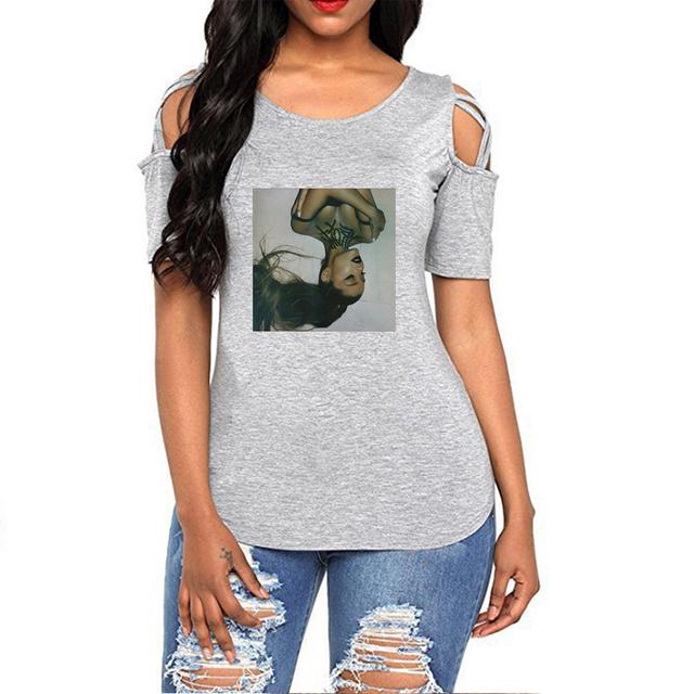 Ariana Grande Fashion Printed Off Shoulder t-skjorte sommer
