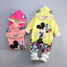 2017 winter girls clothes set cartoon mouse flower girls dress winter jacket hooded velvet girls pants toddler girls clothes