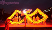 18m 10 adults yellow silk clothes LED light Chinese DRAGON DANCE dragon Folk Festival Costume stage prop party costume