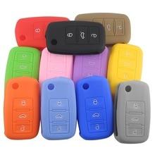 цена на 3 Buttons Silicone Car Key Cover Case For VW Golf 4 5 6 7 Bora Jetta POLO MK4 MK6 Bora Passat B5 B6 Superb Tiguan Beetle