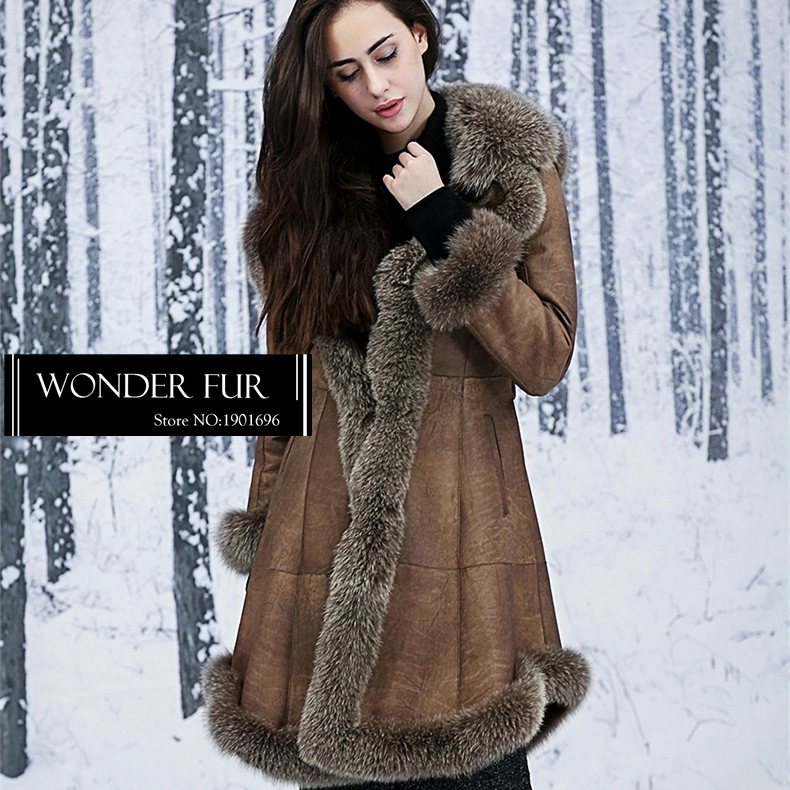 Sexy Style Fur Overcoat With Cap Fox Fur Hooded Rex Rabbit Fur And Skin Skirt Jacket Graceful Double Face Fur Coat For Lady