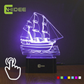 Home Decor Sailing Ship Led Night Lamp 7 Colors Changeable 3D Illusion Desk Table Light Lampara Led Usb as Creative Gifts