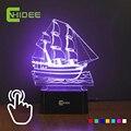 Home Decor barco à vela levou lâmpada noite 7 cores mutável ilusão 3D Desk mesa de luz Lampara Led Usb como presentes criativos