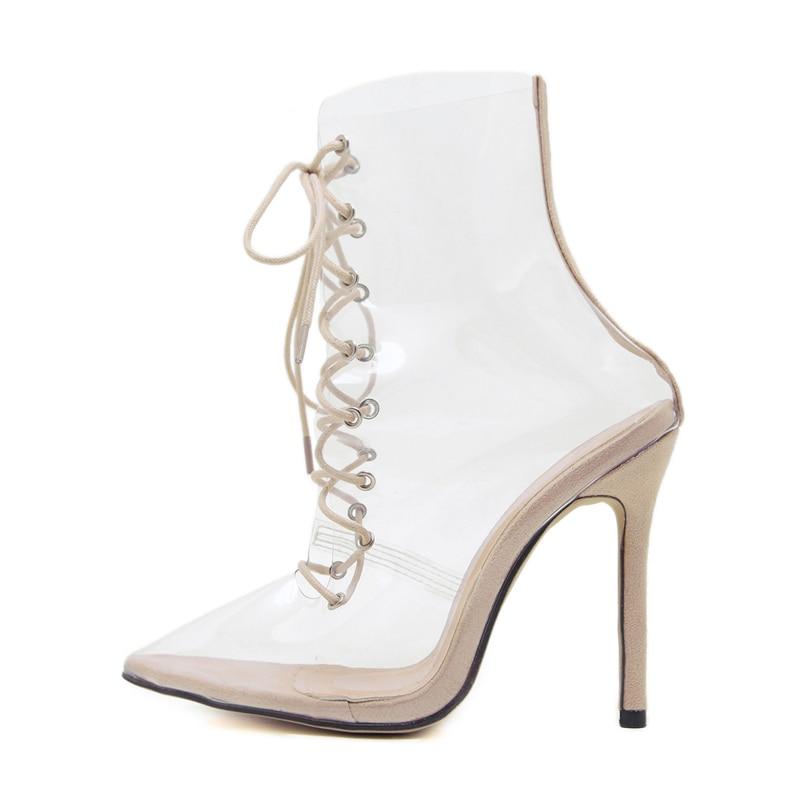 Encaje Tacones Pvc Mujeres Para Tobillo Sexy 12 Moda De Las Del Transparente Alto Dedo Zapatos Puntiagudo Cruz Tacón Damas Pie Botas Cm qCHwZ