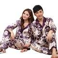 Parejas Pijamas de seda Pijama de Manga Larga Establece Flora Ropa de Noche 2 Unidades Vestido Chino de Seda Pijamas Pijamas Camisón Set de Boda
