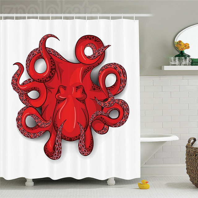 Octopus Decor Shower Curtain Set Kraken With Shadow Tropical Seafood Marine Tentacle Simple Design Artwork Print