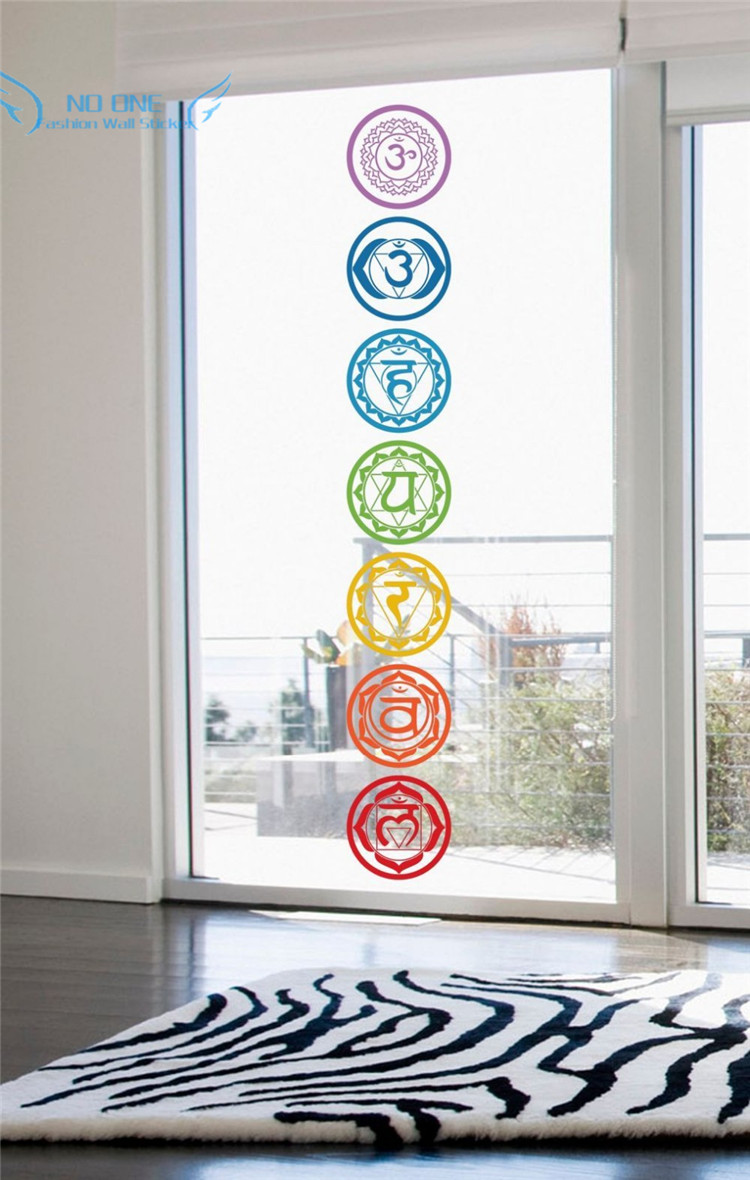 free shipping 7pcs/set Chakras Vinyl Wall Stickers Mandala Yoga Om - Home Decor - Photo 4