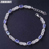 Wome Natural Blue Tanzanite Gemstone Bracelet Genuine Solid 925 Sterling Silver ZHHIRY