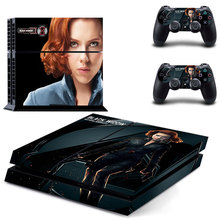Black Widow Skin Sticker Cover for Sony PS4 PlayStation 4 and 2 controller skins