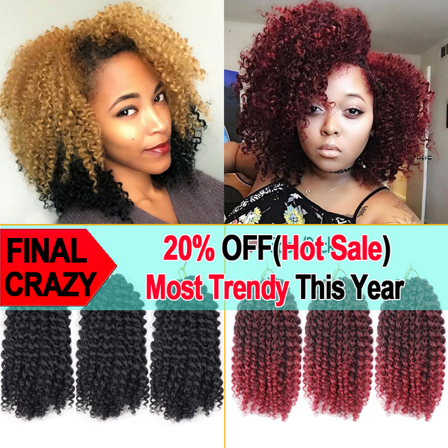 3pcs Lot Marlybob Curly Crochet Hair Extensions 8 Afro Kinky Twist