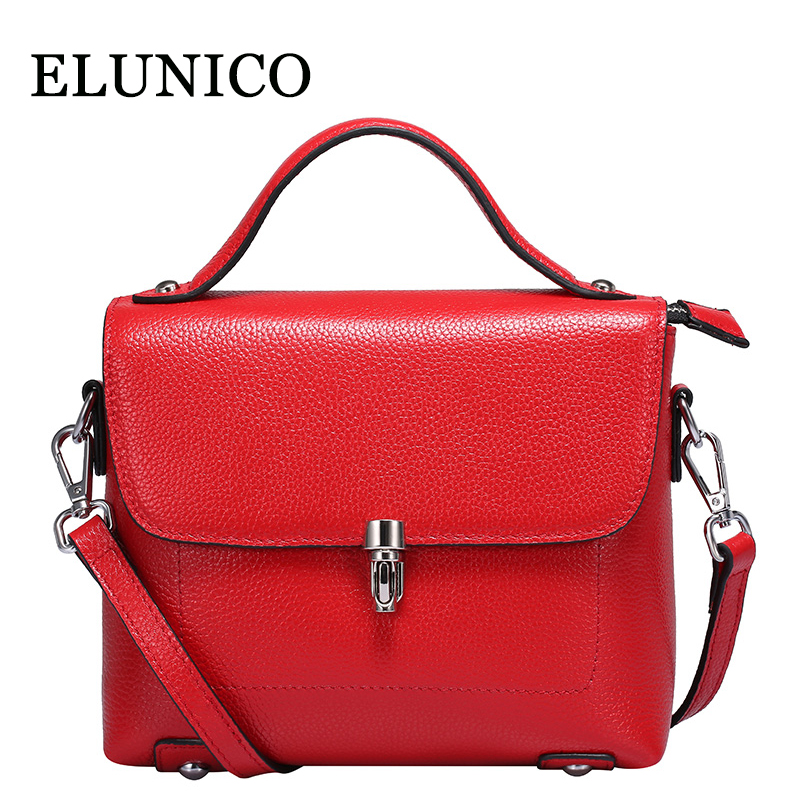 ELUNICO Small Cowhide Tote Bag Female Red Genuine Leather Shoulder Bags Handbags Women Famous Brands Fashion Messenger Bag Bolsa women messenger bags cow split leather bag female handbag fashion crocodile evening bags red shoulder bag handbags bolsa tasche