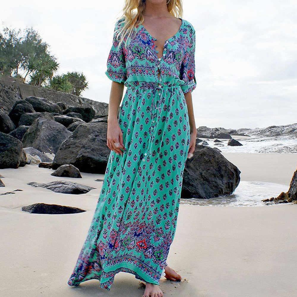 Long Sleeve Dress Green Tropical Beach Vintage Maxi Dresses Boho Casual V Neck Belt Lace Up Tunic Draped Plus Size Dress #3