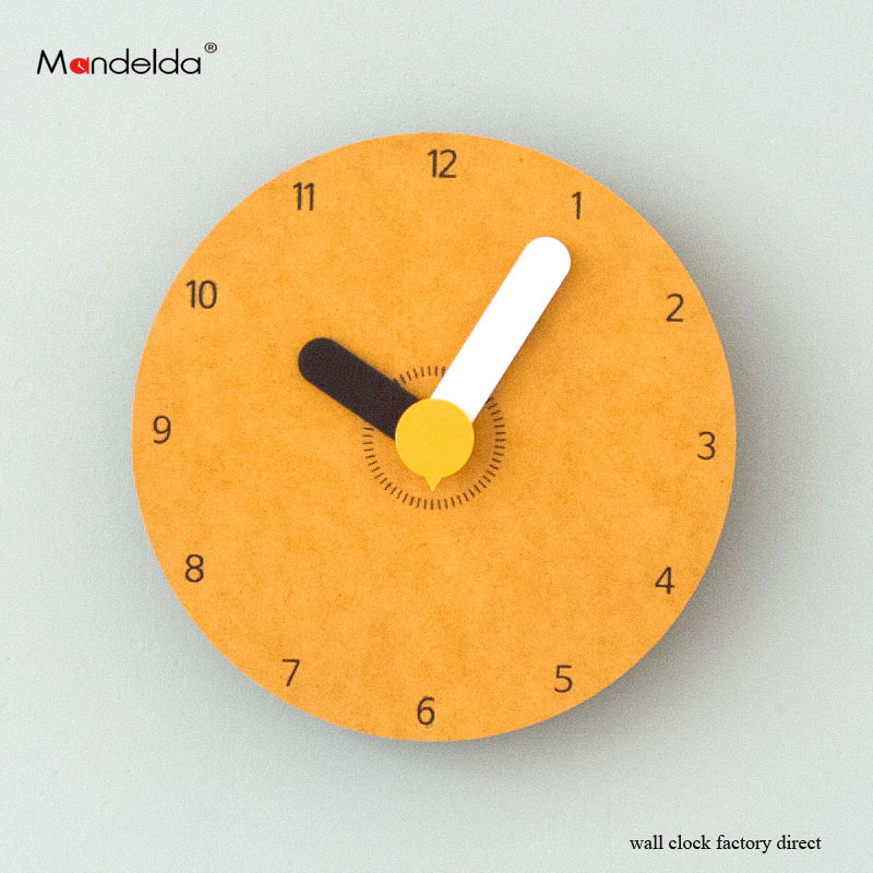 Mandelda High Quality Mini Children Cartoon Wall Clock Painted Round Colorful Quartz Silent Home Decorative Watches