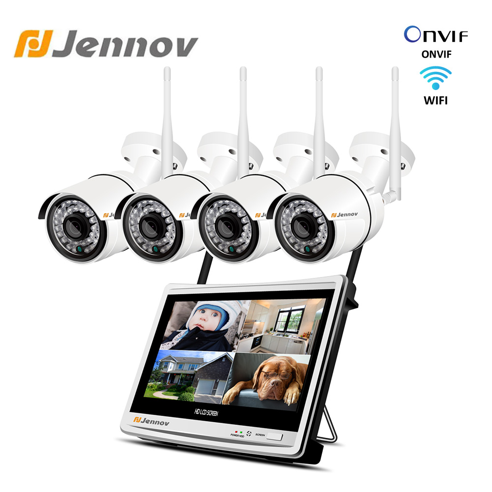 Jennov Home Security CCTV NVR Wifi Camera System Wireless 4CH Video Surveillance Kit 12 Inch LCD Monitor IP66 HD 1080P Cameras
