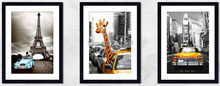 New York Safari yellow taxi Paris canvas prints 3 panels painting modern home decoration Imagich