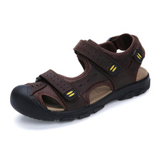 Men Sandals Genuine Leather Sandals Men Fashion Hook & Loop Comfortable Leisure Brand Shoes Men Beach Sandals Sandalias Hombre