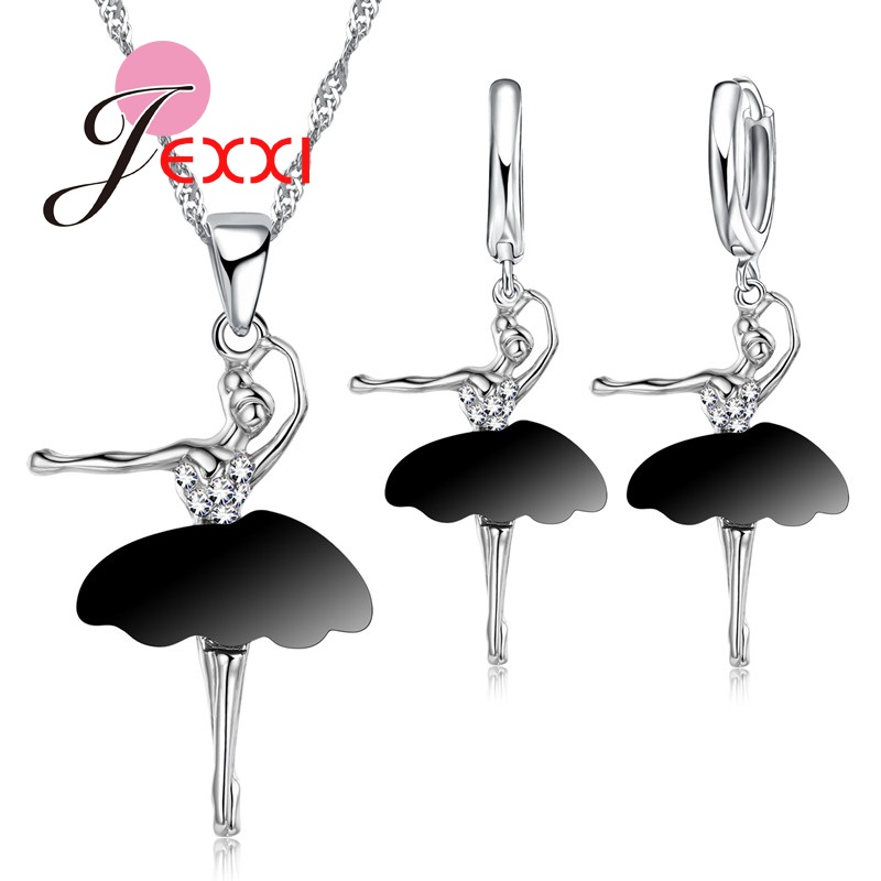 Cute Birthday Gift Woman  Silver Black Skirt Dancing Doll Girl Pendant Necklace Earrings Ballet Jewelry Sets