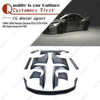 FRP Fiber Glass PD Style Bodykit Fit For 1989-1994 R32 GTR  Body Kit Front Lip Whole Fender Rear Spats Spoiler Wing