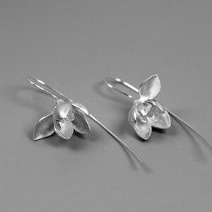 Image 4 - Lotus Fun Moment Real 925 Sterling Silver Handmade Designer Fashion Jewelry Elegant Magnolia Flower Dangle Earrings for Women