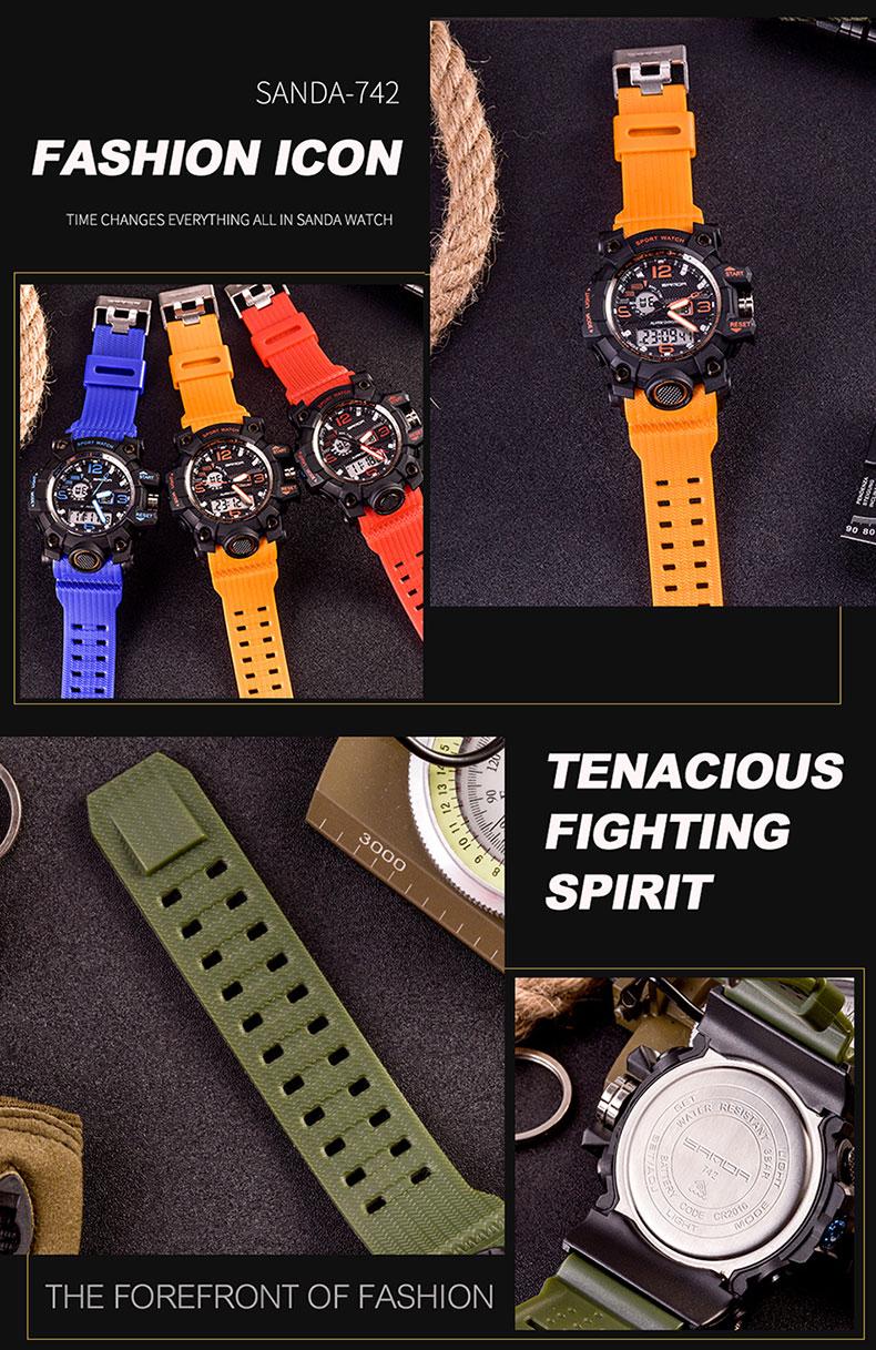 SANDA top luxury brand G style men's military sports watch LED digital watch waterproof men's watch Relogio Masculino