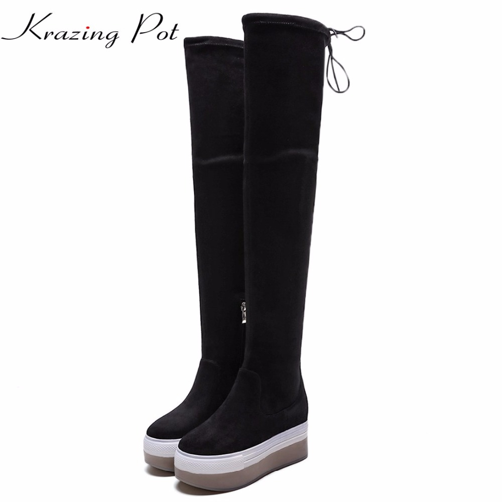Krazing pot flannel stretch boots winter keep warm wedges high heels leisure long legs beauty fashion over-the-knee boots L31 krazing pot flannel stretch boots winter keep warm wedges high heels leisure long legs beauty fashion over the knee boots l31