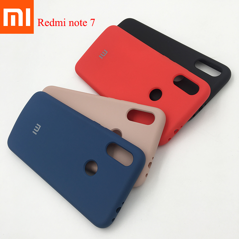 100% Original Xiaomi Redmi Note 7 Pro Case Liquid Silicone Silky Soft Touch Coque Case Protective Back Cover For Red mi note 7-in Fitted Cases from Cellphones & Telecommunications