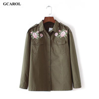 Women New Arrival Embroidery Floral Denim Blouse Single Breasted Button Handsome OL Shirt Euro Style Green