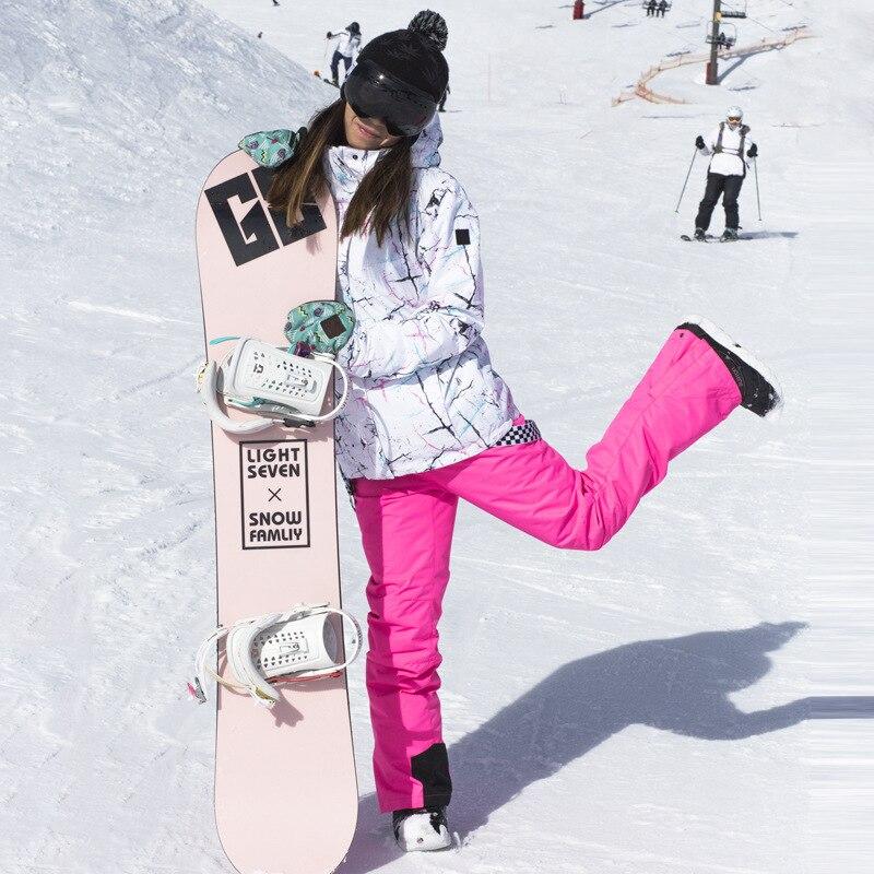 Ski Costume de Femmes D'hiver En Plein Air Imperméable Coupe-Vent Chaud Épais Ski Veste Salopette Placage Double Conseil Ski Vêtements