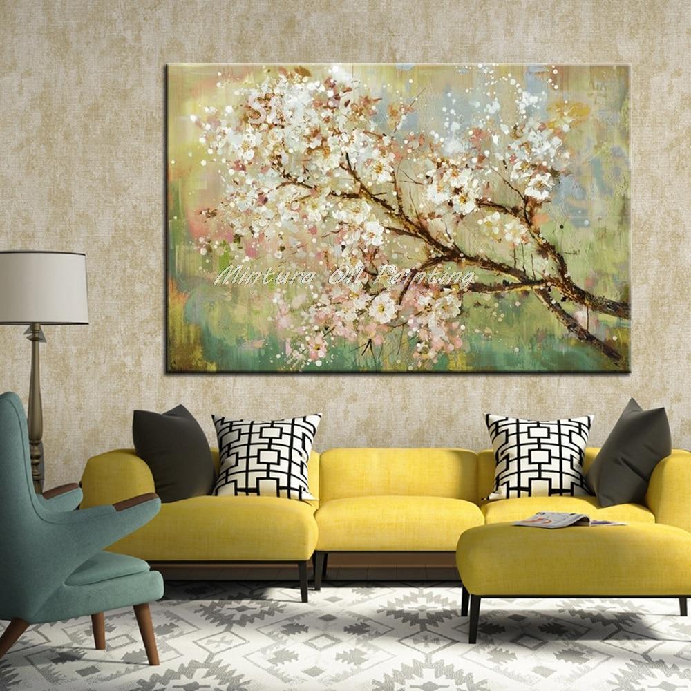 Mintura ручная роспись цветы и дерево Рисование современные картины маслом на холсте настенные картины для гостиной домашний Декор без рамки - Цвет: MT161044