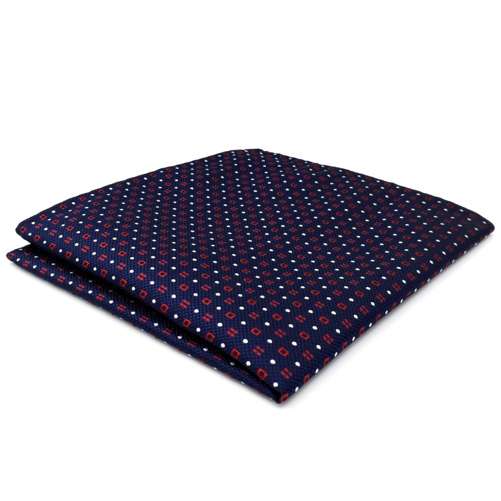 CH24 Blue Red White Dots Mens Pocket Square Silk Classic Handkerchief Accessory