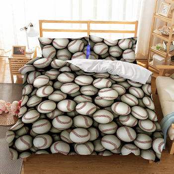New 3D Flame Football Baseball Athletes Duvet Cover 2/3pcs European American Family student dormitory Quilt cover pillowcase