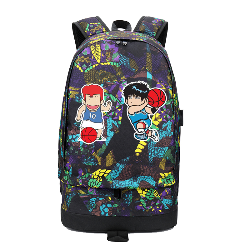 High Quality 2018 SLAM DUNK Printing Backpack USB Charging Laptop Backpack Large Capacity Travel Backpack Canvas School BagsHigh Quality 2018 SLAM DUNK Printing Backpack USB Charging Laptop Backpack Large Capacity Travel Backpack Canvas School Bags