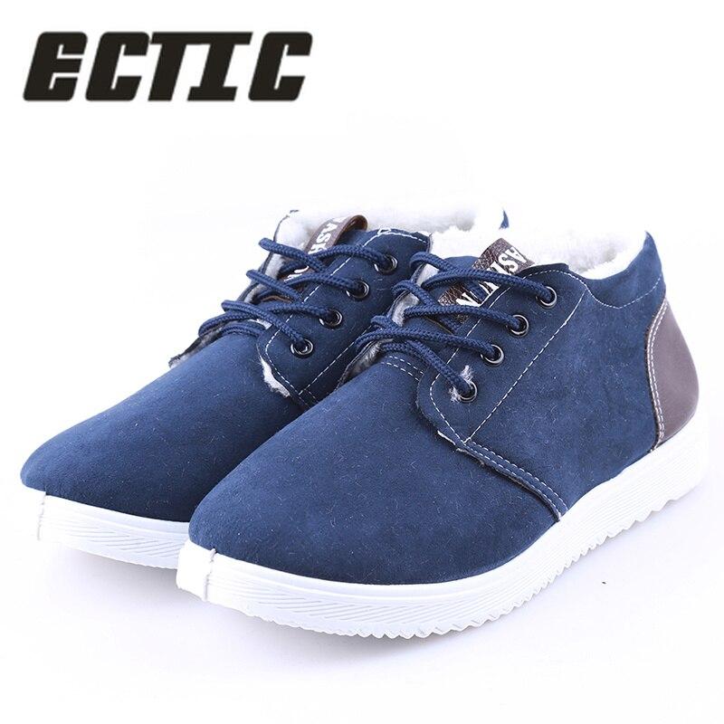 ECTIC hombres otoño zapatos casuales más lana invierno cálido zapatos hombres vellones de ocio resbaladizas Zapatos hombre zapatillas DP-74