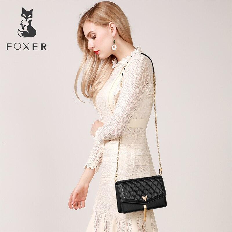 FOXER marka kobiet diament kraty torba wieczór damski łańcuszek pasek luksusowe torba jakości skórzane damskie mała klapa torba w Torebki na ramię od Bagaże i torby na  Grupa 3