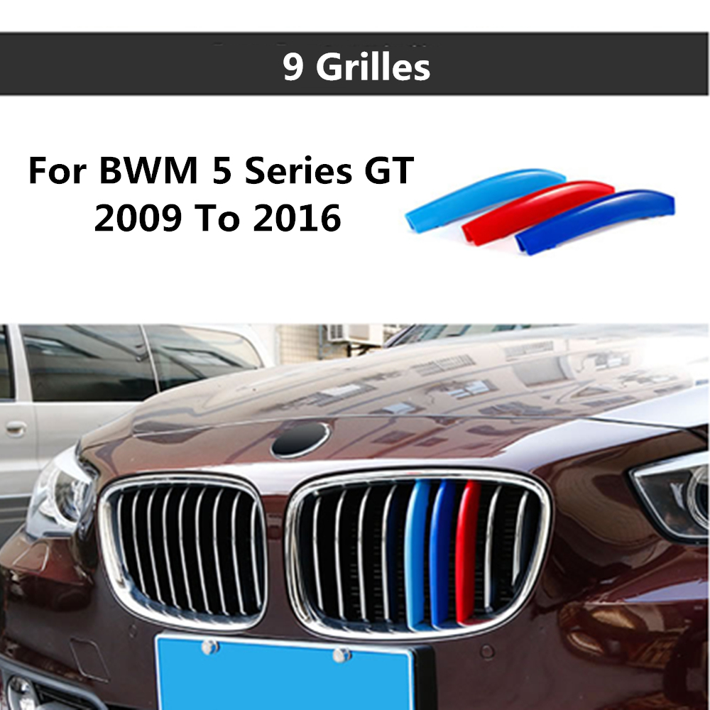For BMW 5 Series GT 5GT F07 528i 535i 550i 2009 to 2016 3D color M Styling Front Grille Trim Strips Grill Cover Stickers