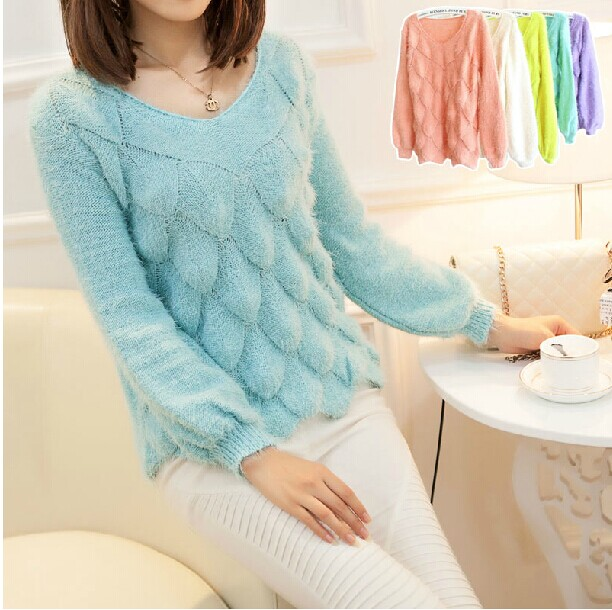 2014 New Autumn Womens Knitted Sweaters Mohair V Neck Fish Scale Long Sleeve Pullovers Knitwear Tops Sweater 5 Colors - Fashion Trendy Store store