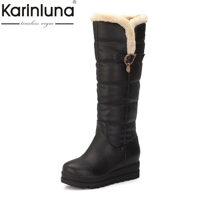 где купить KARINLUNA Large size 33-43 Winter shoes women Warm Fur comfort black white Snow Boots Rubber Sole Upper Waterproof flat Platform по лучшей цене