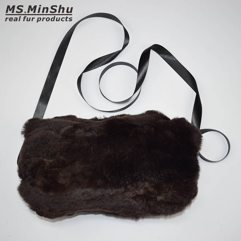 900a8ec4b Real Fur Handmuff Winter Hand Warmer Real Rex Rabbit Fur Muff Fashion Woman  Handmuff With Straps Hand Warmer MS.MinShu Brand-in Gloves & Mittens from  ...