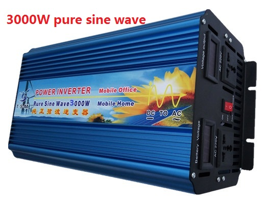 dual digital display 3KW 3000W 12v/24v dc input to 110v/220v ac output Pure Sine Wave Inverter Peak Power 6000W inverter