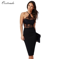 Ocstrade Women Bandage Dress 2017 Sleeveless New Arrival Party Black Sexy Lace Bodycon Dress Summer