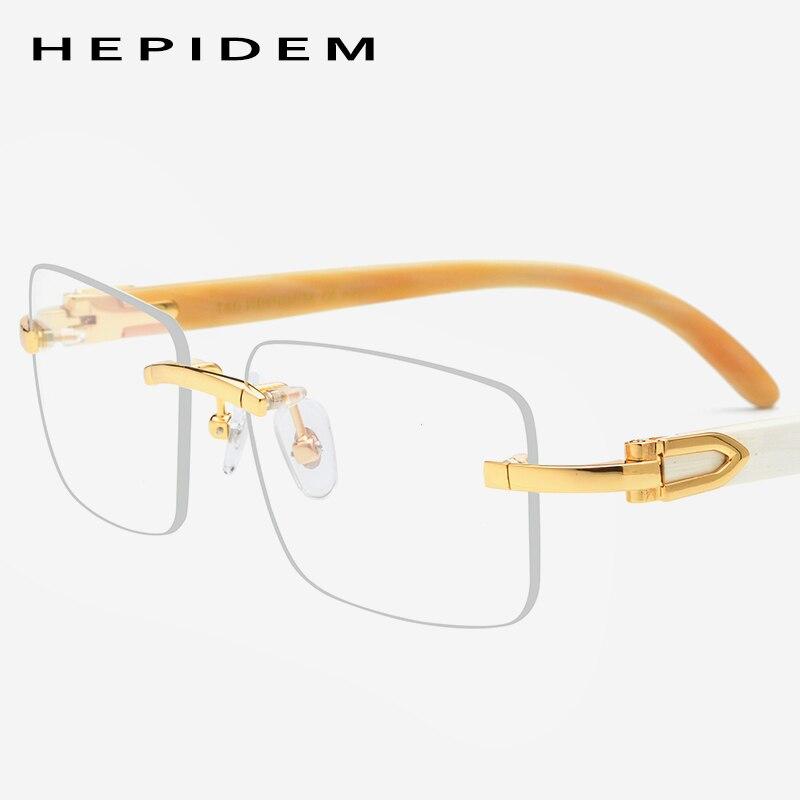 Buffalo Horn Glasses Frame Men Square Rimless High Quality Women Prescription Eyeglasses Luxury Optical Frame Eyewear