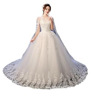 Image 5 - Robe de mariee lindo vestidos de casamento vestido de baile o pescoço rendas acima com apliques jaqueta mariage vestidos de noiva casamento 2020