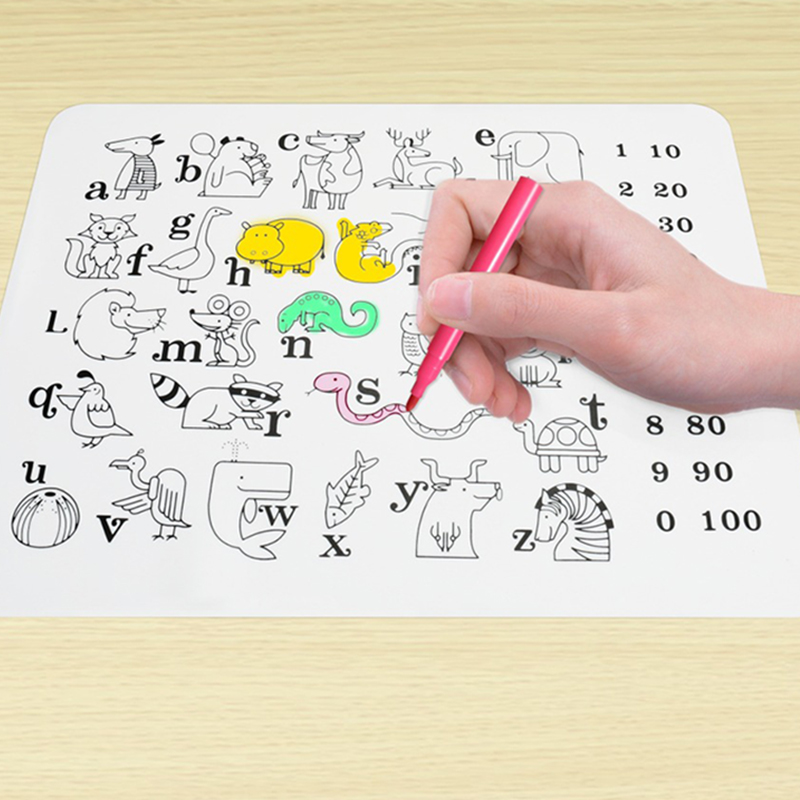 Children Washable Anti-slip Painting Pads Baby Feeding Plate Bowl Pad Portable Silicone Tableware Dishes Pads Kids Gifts
